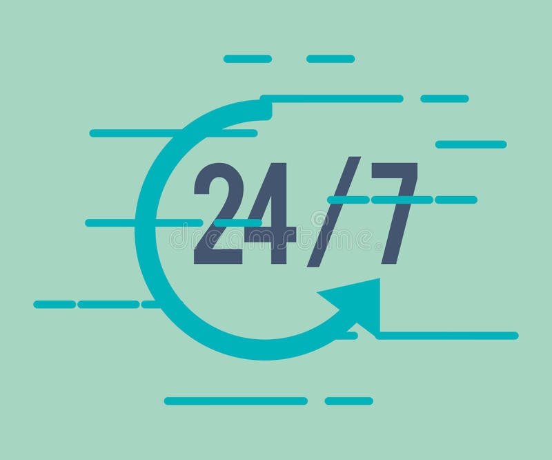 24 servicios 7 con el icono de la flecha ilustración del vector