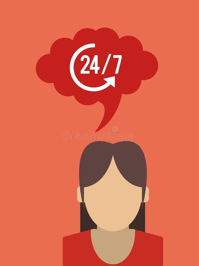 24 servicios 7 con el icono de la flecha libre illustration