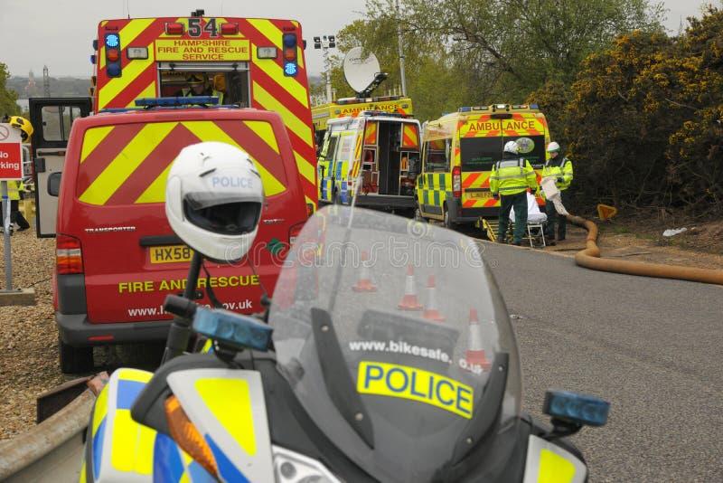 Servicios de emergencia en un incidente importante. imágenes de archivo libres de regalías