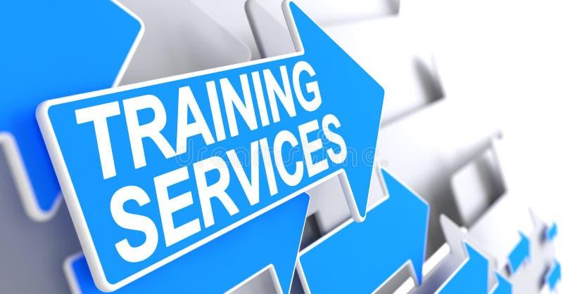 Servicios de entrenamiento - inscripción en la flecha azul 3d ilustración del vector