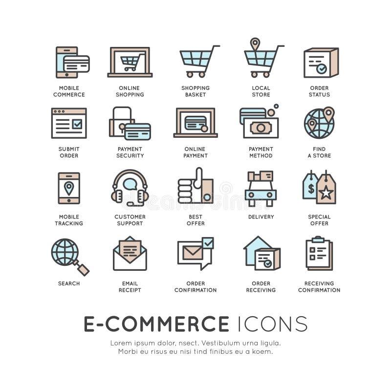 Servicios de envío y compras en línea de las instalaciones stock de ilustración