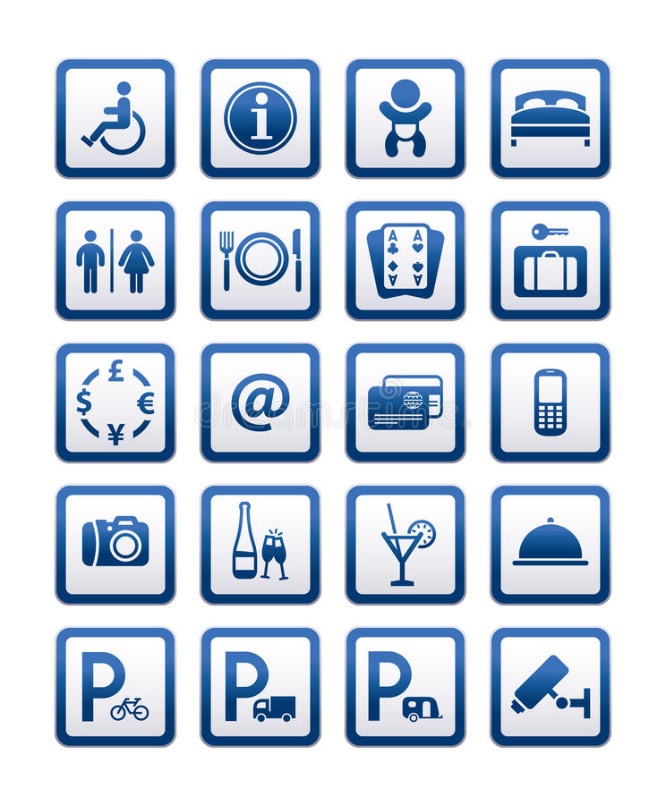 Servicios de hotel de los símbolos. Las muestras fijaron servicios del motel libre illustration