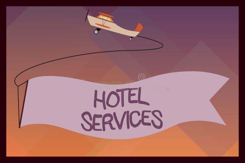 Servicios de hotel del texto de la escritura Amenidades de las instalaciones del significado del concepto de una casa del alojami libre illustration