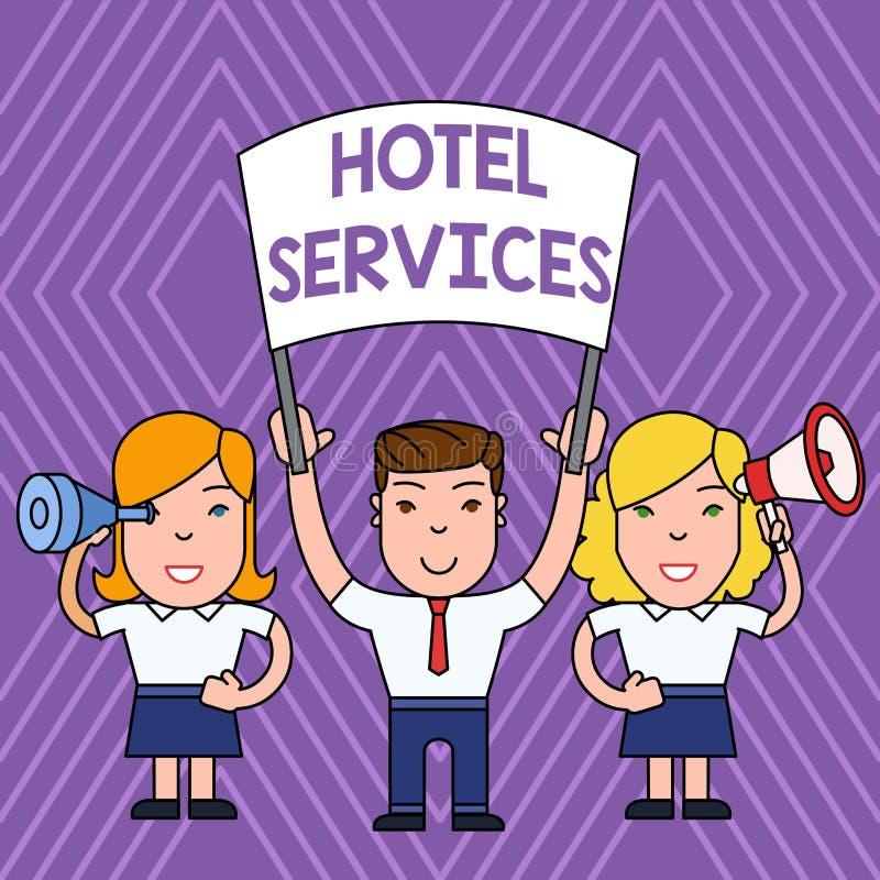 Servicios de hotel del texto de la escritura Concepto que significa amenidades de las instalaciones de una gente de la casa del a libre illustration