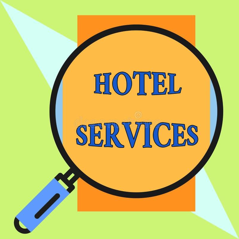 Servicios de hotel del texto de la escritura Concepto que significa amenidades de las instalaciones de una ronda de la casa del a stock de ilustración