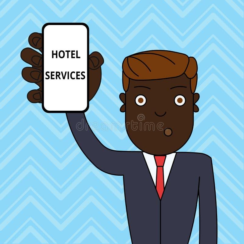 Servicios de hotel del texto de la escritura Concepto que significa amenidades de las instalaciones de una tenencia del hombre de ilustración del vector