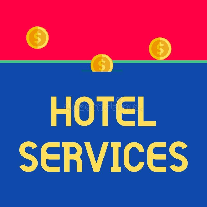 Servicios de hotel del texto de la escritura de la palabra Concepto del negocio para las amenidades de las instalaciones de un fr libre illustration