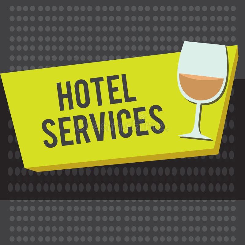 Servicios de hotel del texto de la escritura de la palabra Concepto del negocio para las amenidades de las instalaciones de una c libre illustration