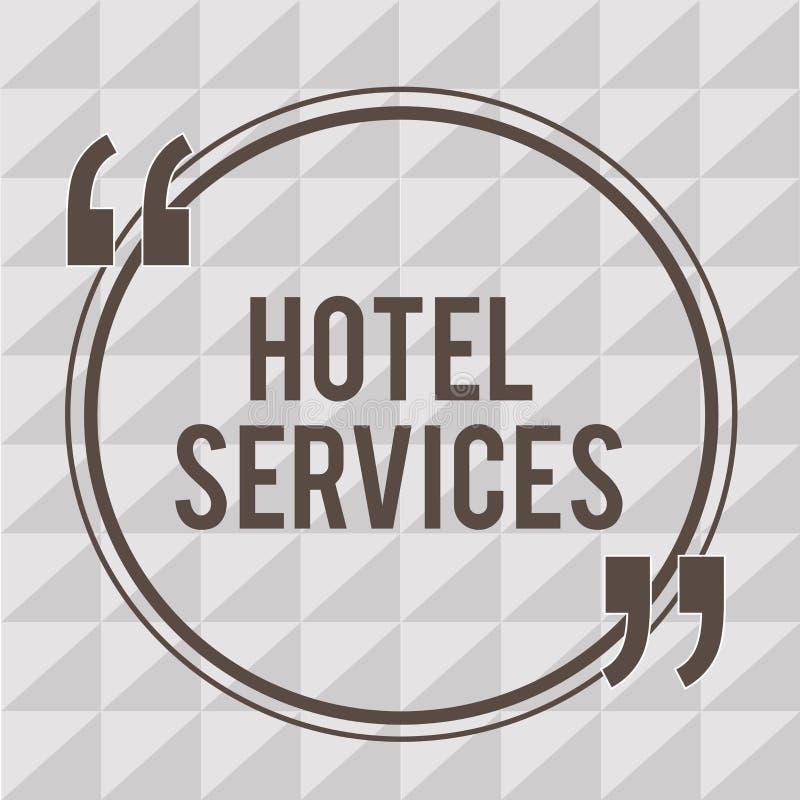 Servicios de hotel del texto de la escritura de la palabra Concepto del negocio para las amenidades de las instalaciones de una c stock de ilustración