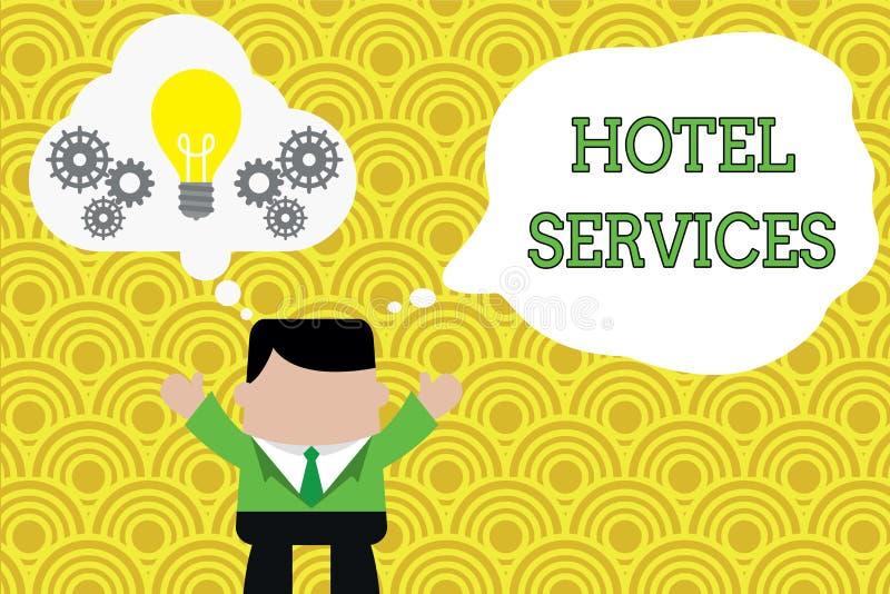 Servicios de hotel del texto de la escritura de la palabra Concepto del negocio para las amenidades de las instalaciones de una c ilustración del vector
