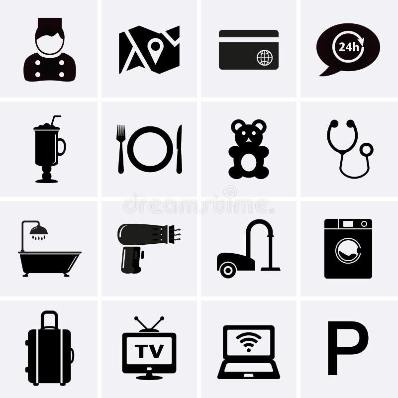 Servicios de hotel e iconos de las instalaciones Sistema 1 ilustración del vector