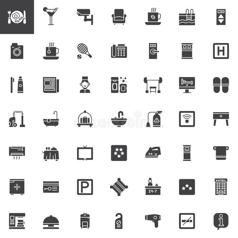 Servicios de hotel e iconos del vector de las instalaciones fijados ilustración del vector