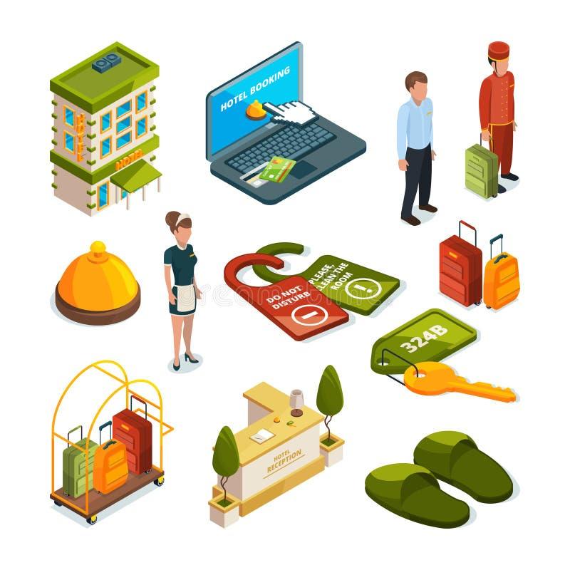 Servicios de hotel Ejemplos isométricos ilustración del vector