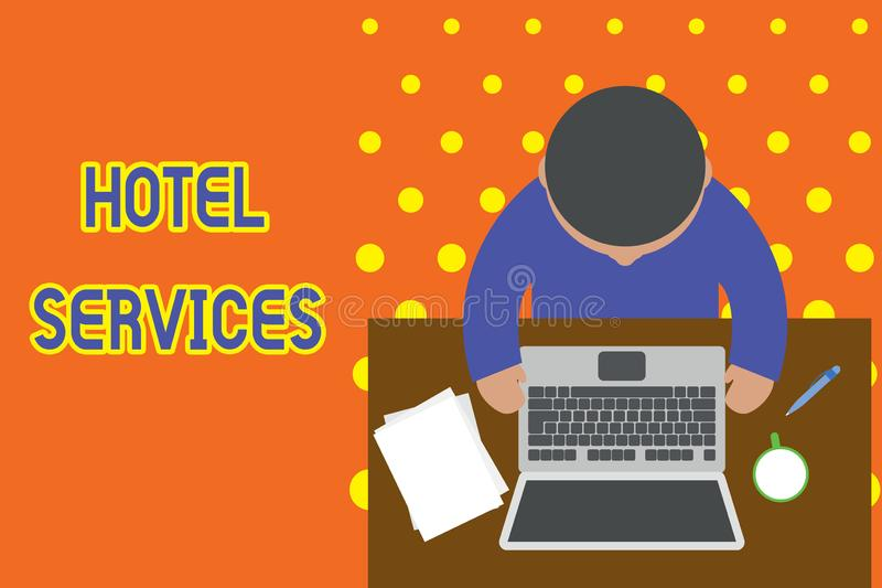 Servicios de hotel de la escritura del texto de la escritura Amenidades de las instalaciones del significado del concepto de una  libre illustration