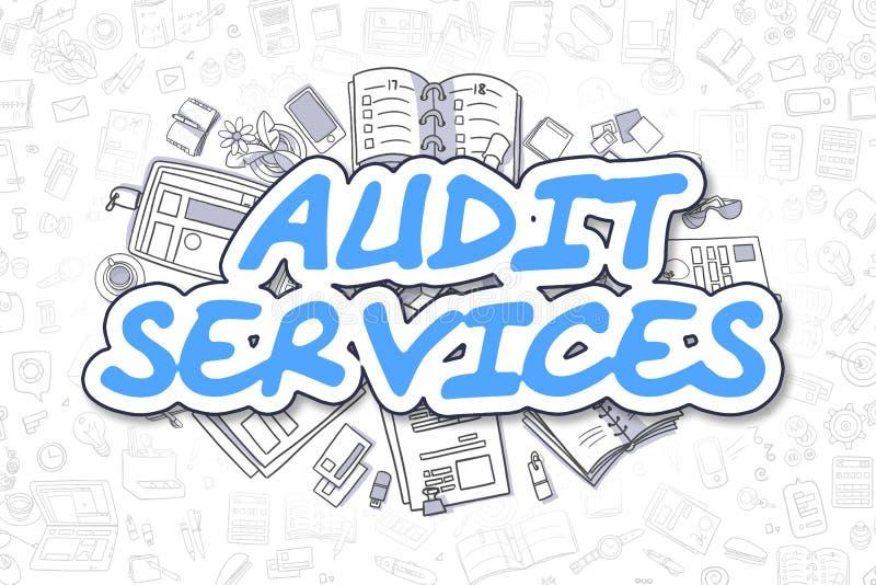 Servicios de la auditoría - inscripción del azul de la historieta Concepto del asunto ilustración del vector