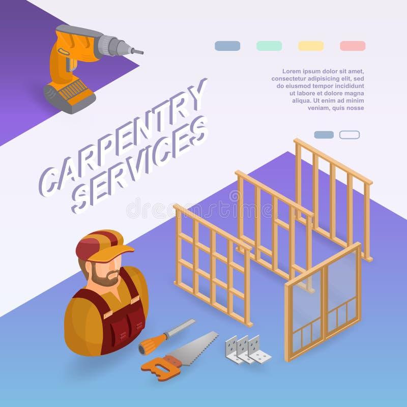 Servicios de la carpintería Concepto isométrico Trabajador, equipo ilustración del vector