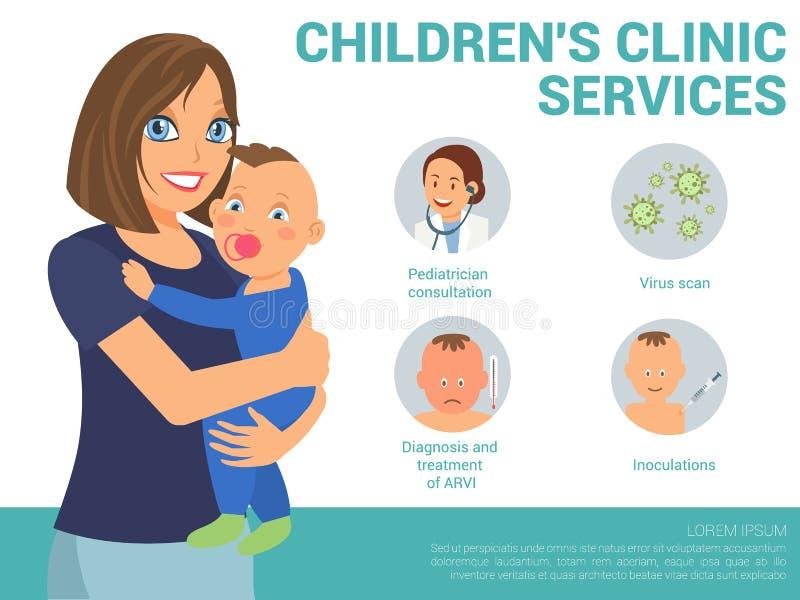 Servicios de la clínica de los niños Ejemplo plano del vector stock de ilustración