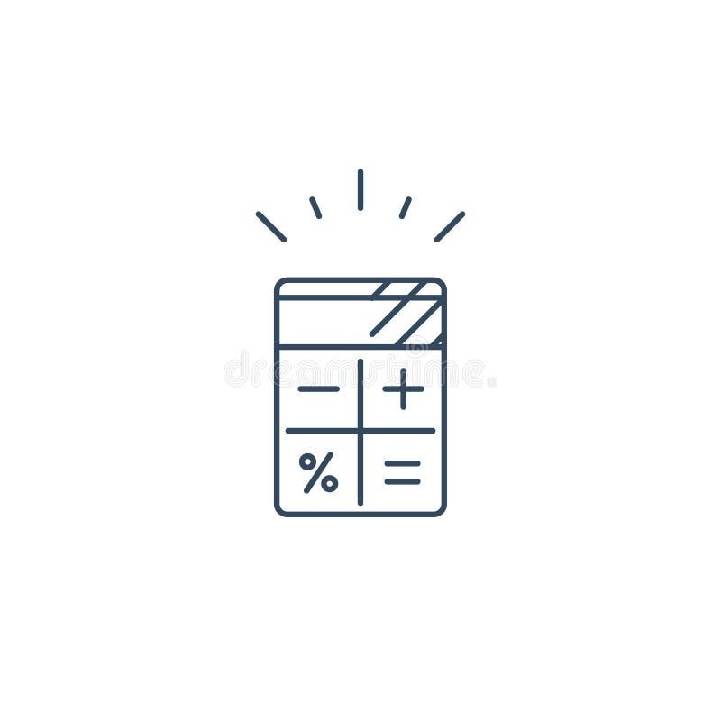 Servicios de la contabilidad, concepto del cálculo del proyecto, icono linear stock de ilustración