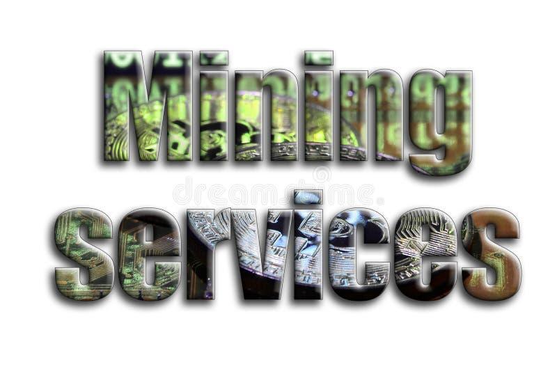 Servicios de la explotación minera La inscripción tiene una textura de la fotografía, que representa varios bitcoins en un aceler ilustración del vector