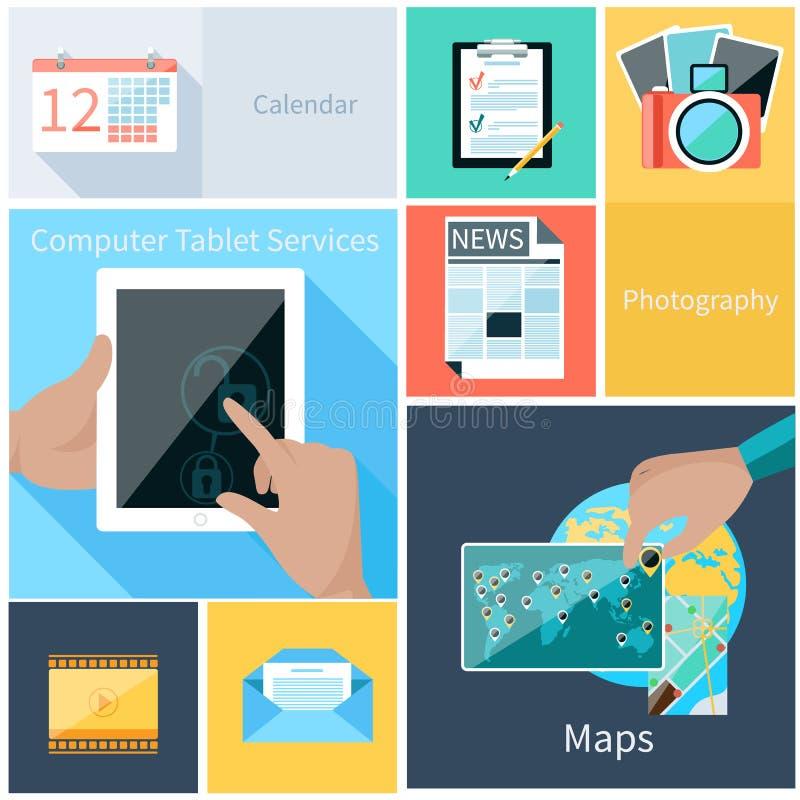 Servicios de la tableta del ordenador, concepto de la aplicación web stock de ilustración