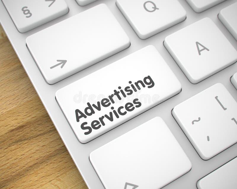 Servicios de publicidad - mensaje en la llave de teclado blanca 3d ilustración del vector