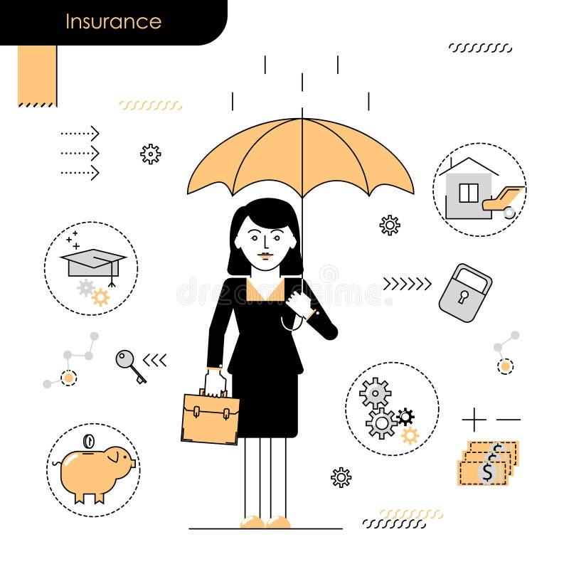 Servicios de seguro de negocio conceptuales Tenencia de la mujer de negocios ilustración del vector