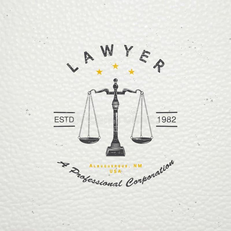 Servicios del abogado Asesoría jurídica El juez, el fiscal de distrito, el abogado de las etiquetas del vintage Viejo grunge retr stock de ilustración