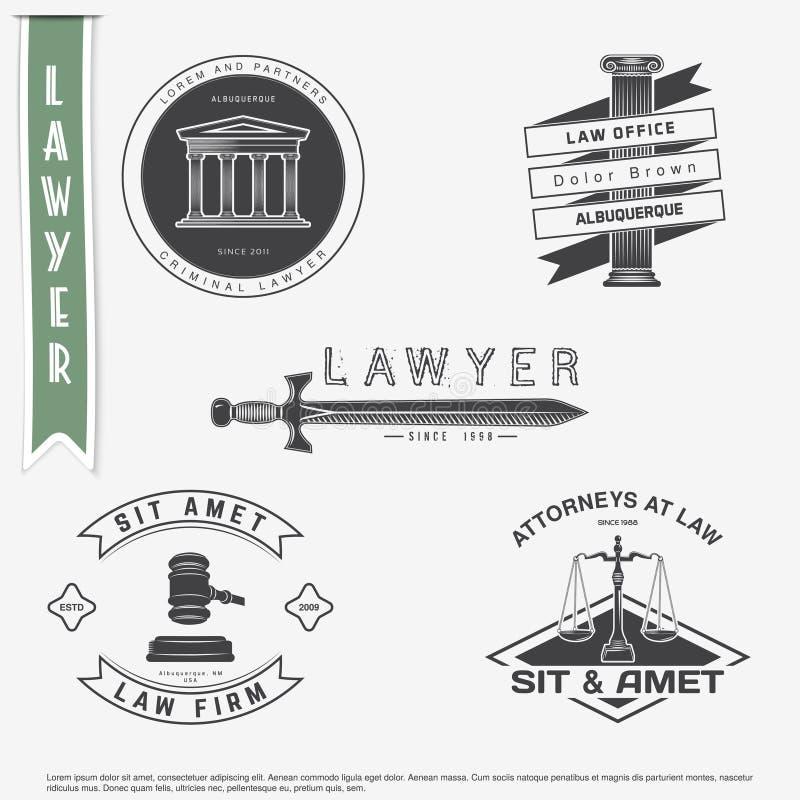 Servicios del abogado Asesoría jurídica El juez, el fiscal de distrito, el sistema del abogado de etiquetas del vintage Escalas d ilustración del vector