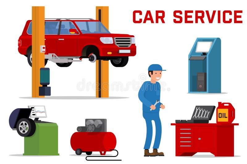 Servicios del coche - reparación y diagnósticos del mantenimiento ilustración del vector
