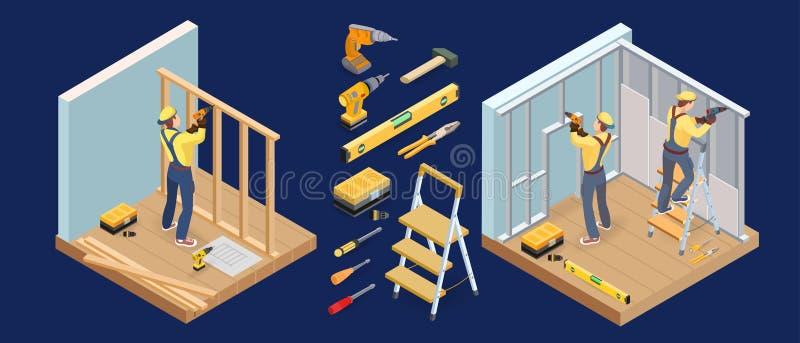 Servicios del edificio El interior isom?trico repara concepto Carpintero, herramientas Vector ilustración del vector
