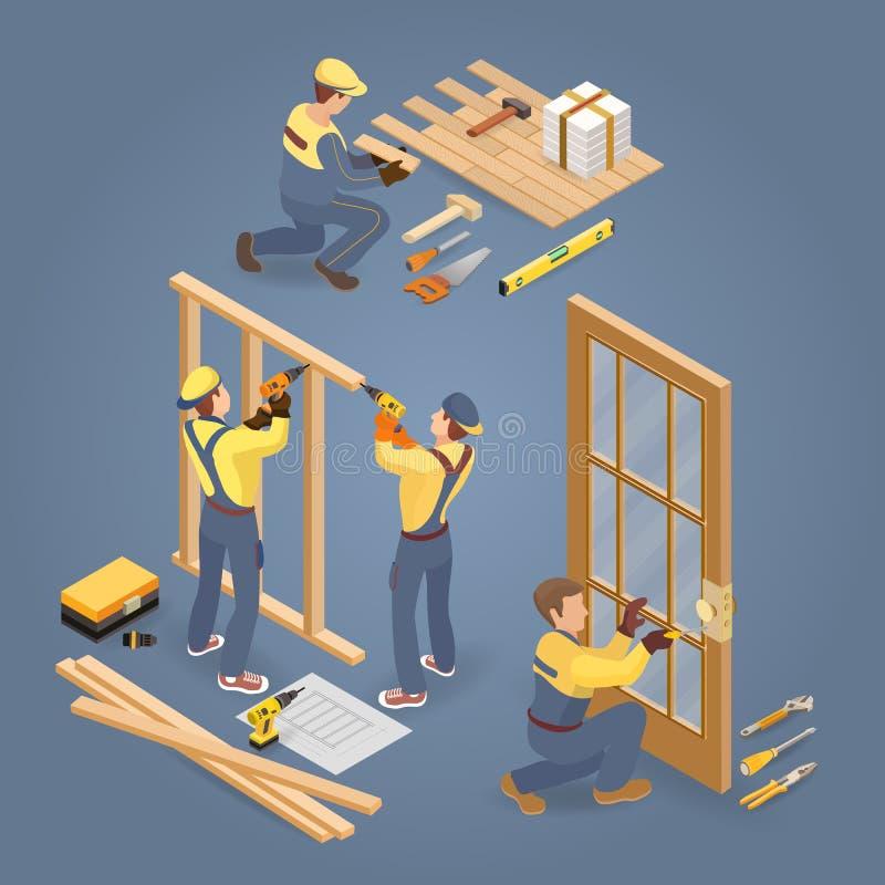 Servicios del edificio Instalador del piso y de la puerta Trabajador, herramientas isom?trico Vector libre illustration