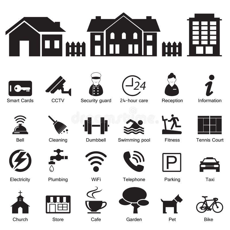 Servicios del hotel del pueblo y caseros e icono de las instalaciones libre illustration