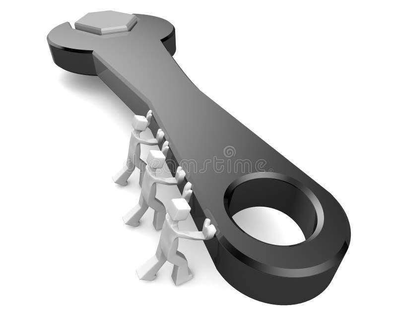 Servicios del trabajo en equipo y concepto de mantenimiento stock de ilustración