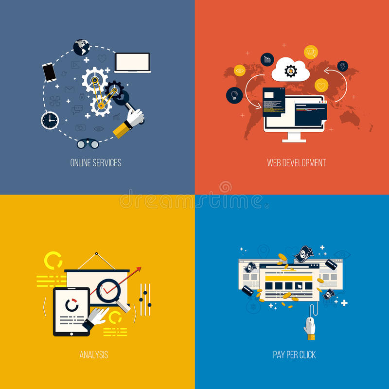Servicios, desarrollo web, análisis y paga del foronline de los iconos por libre illustration