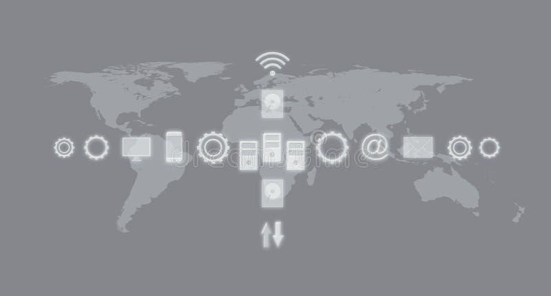 Servicios e iconos, Internet de las cosas, redes, comunicación Concepto del negocio con el mapa del mundo en el fondo stock de ilustración