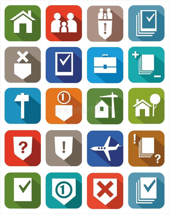 Servicios jurídicos coloreados de los iconos libre illustration