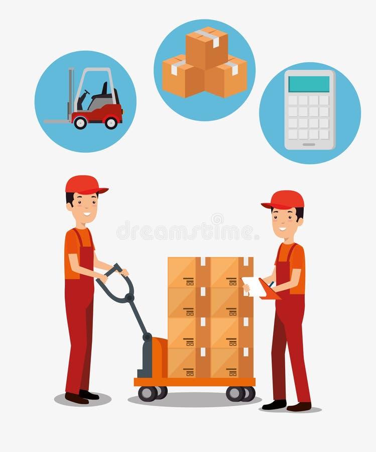 Servicios logísticos con los trabajadores de la entrega del equipo libre illustration