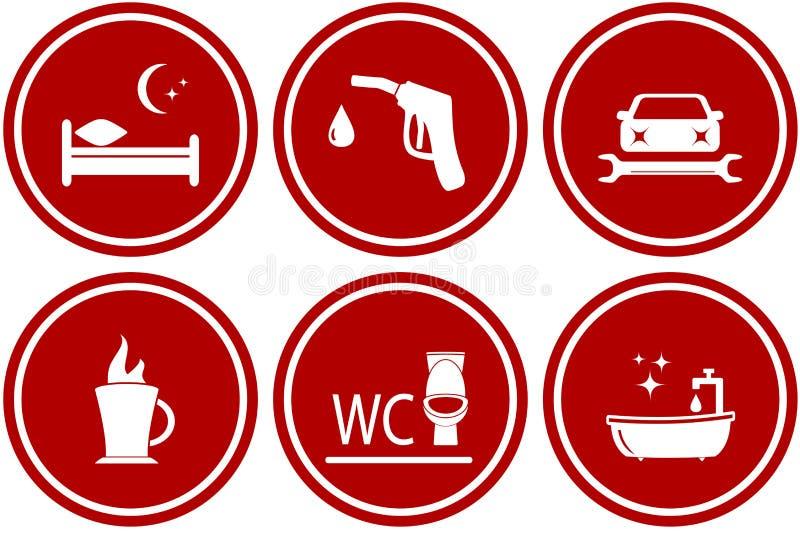 Servicios para durante el viaje auto stock de ilustración