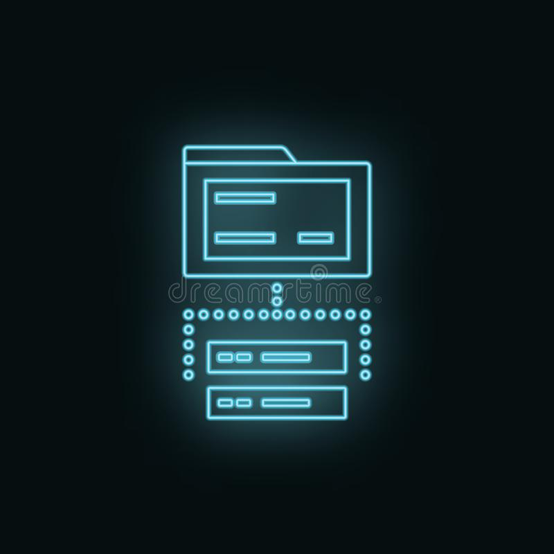 Servidor, carpeta, base de datos, neón, icono Icono del vector del desarrollo web Elemento del símbolo simple para las páginas we stock de ilustración