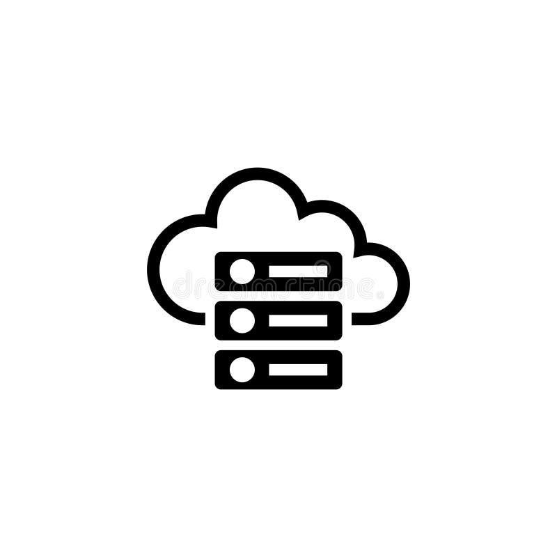 Servidor computacional de la nube del web, recibiendo el icono plano del vector de la base de datos ilustración del vector