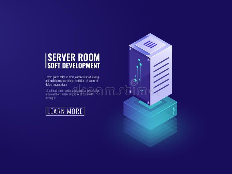 Servidor de dados, processamento de informação, tecnologias digitais do computador, armazenamento de dados da nuvem, tecnologias  ilustração royalty free