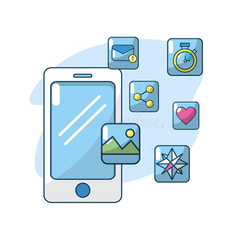 Servidor de la conexión de los apps del smartphone de la tecnología ilustración del vector