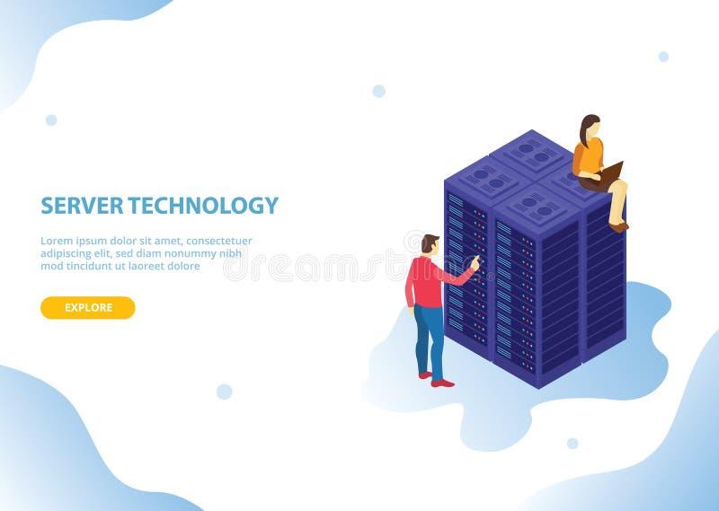 Servidor de la nube que recibe tecnología con estilo isométrico y a gente con el estilo azul moderno - vector ilustración del vector