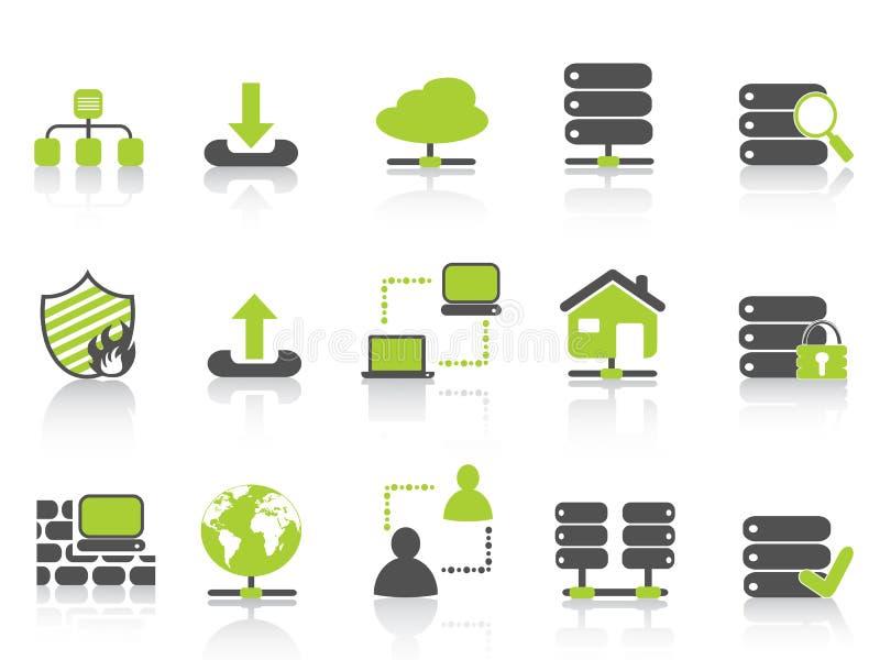 Servidor de red verde que recibe iconos libre illustration