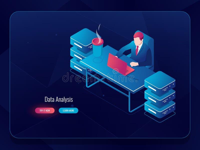 Servidor de rede, processo de dados grande, programador que senta-se na tabela, tecnologia futura do administrador de sistema, ar ilustração royalty free