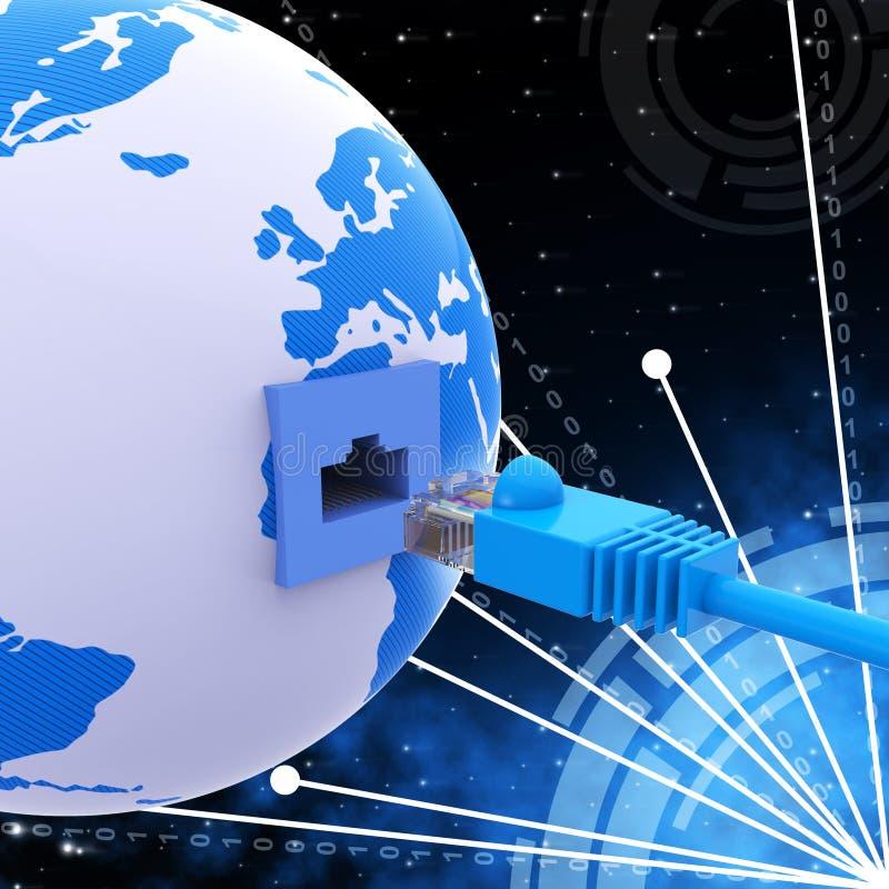 Servidor e computador mundiais de rede dos meios de conexão ilustração stock