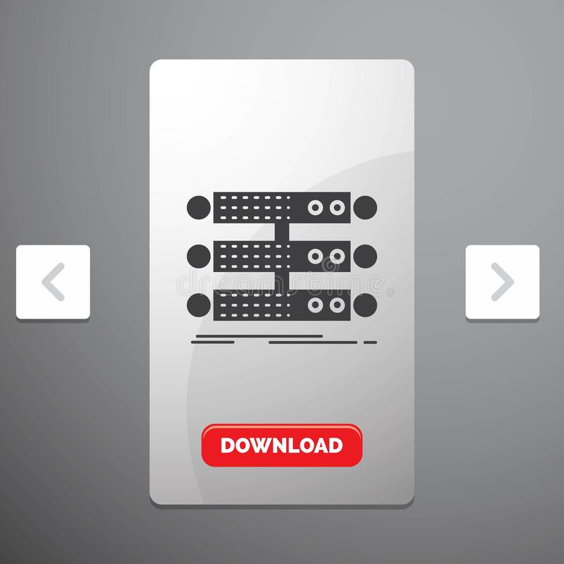 servidor, estructura, estante, base de datos, icono del Glyph de los datos en diseño del resbalador de las paginaciones de la org libre illustration