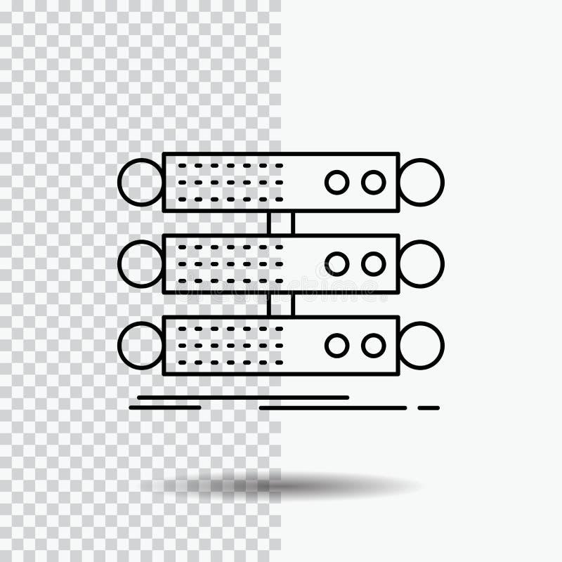 servidor, estructura, estante, base de datos, línea de datos icono en fondo transparente Ejemplo negro del vector del icono libre illustration