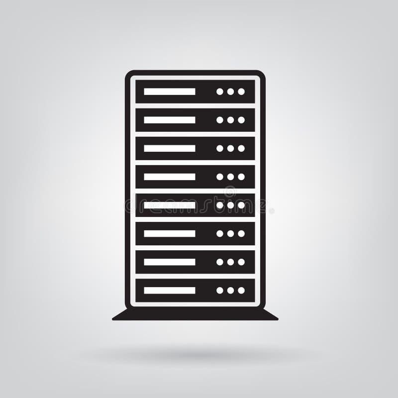 Servidor, icono del centro de datos stock de ilustración