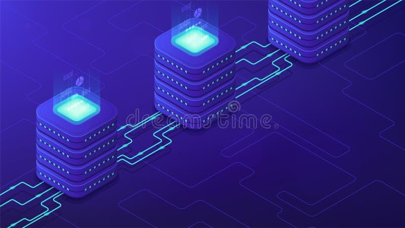Servidor-lado isométrico que processa o conceito ilustração stock